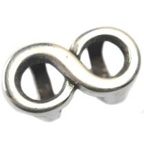 Zilver Leerschuiver infinity Ø10x6mm zilver DQ 25x14mm