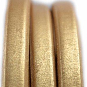 Goud Ovaal leer 10x6mm goud metallic - per cm