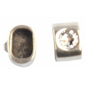 Zilver Eindkap strass Ø10x6mm zilver DQ