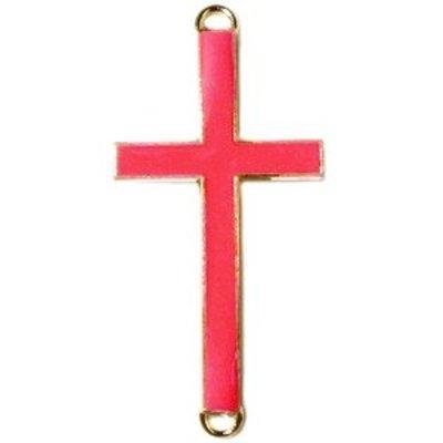 Goud Tussenzetsel kruis roze rood goud 37x17mm