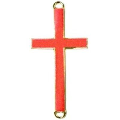 Goud Tussenzetsel kruis oranje rood goud 37x17mm