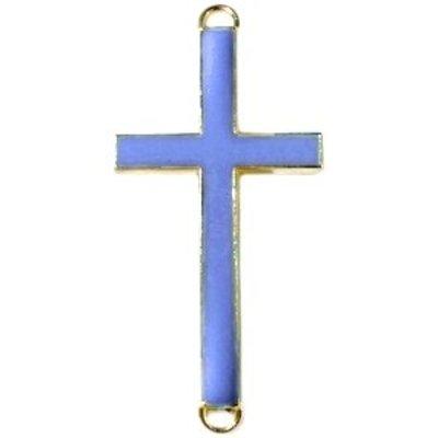 Blauw Tussenzetsel kruis blauw goud 37x17mm