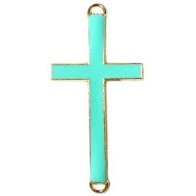 Turquoise Tussenzetsel kruis turquoise groen goud 37x17mm