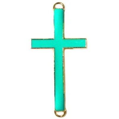 Turquoise Tussenzetsel kruis zeegroen goud 37x17mm