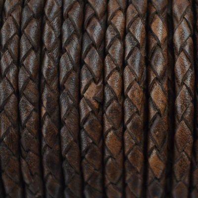 Bruin Rondgevlochten leer vintage donker bruin 4mm -per 20cm