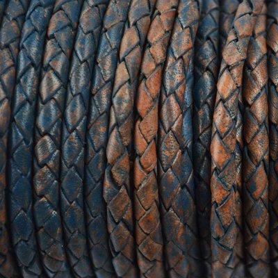 Blauw Rondgevlochten leer vintage donker aqua 4mm -per 20cm