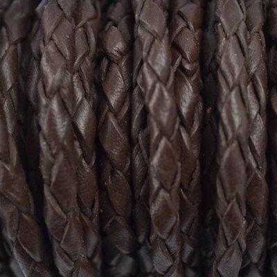 Bruin Rondgevlochten leer donker bruin 4mm -per 20cm
