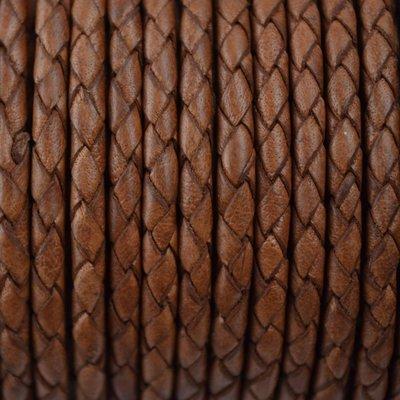 Bruin Rondgevlochten leer cognac 4mm -per 20cm