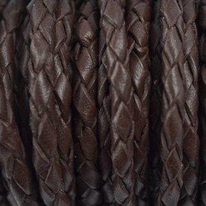 Bruin Leer donker bruin 4mm - per 20cm