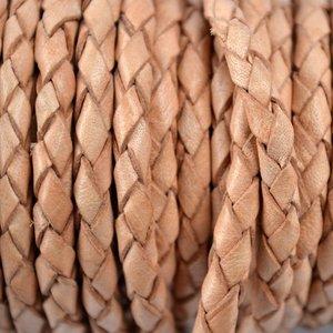 Bruin Rondgevlochten leer naturel 4mm - per 10cm