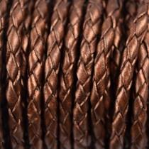 Bruin Rondgevlochten leer metallic bruin 4mm - per 10cm