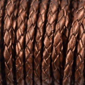 Bruin Rondgevlochten leer metallic bruin 4mm - per 20cm