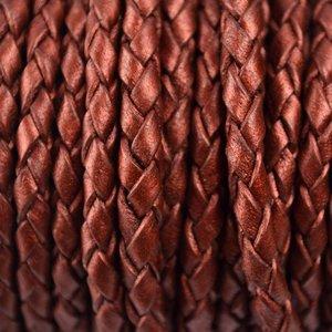 Rood Rondgevlochten leer metallic roest rood 4mm - per 20cm