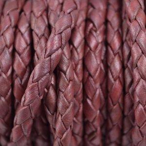 Roze Rondgevlochten leer metallic plum 4mm - per 20cm
