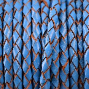 Blauw Rondgevlochten leer blauw 4mm -per 10cm