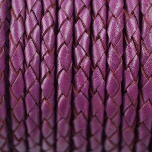 Paars Rondgevlochten leer fuchsia paars 4mm - per 20cm
