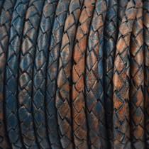 Blauw Rondgevlochten leer vintage donker aqua 4mm -per 10cm