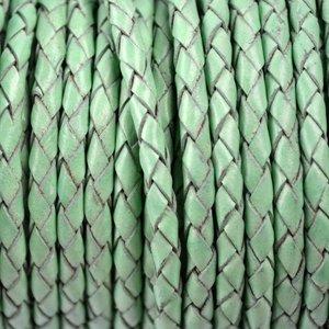 Groen Rondgevlochten leer mint groen 4mm - per 10cm