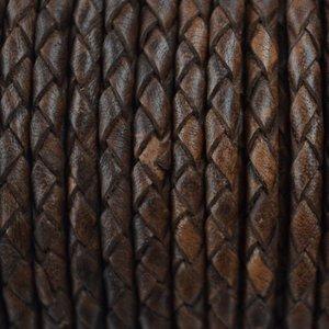 Bruin Rondgevlochten leer vintage donker bruin 4mm - per 20cm