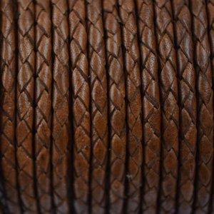 Bruin Rondgevlochten leer bruin 4mm - per 20cm