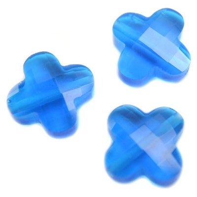 Blauw Quartz kraal klaver capri blue 12mm