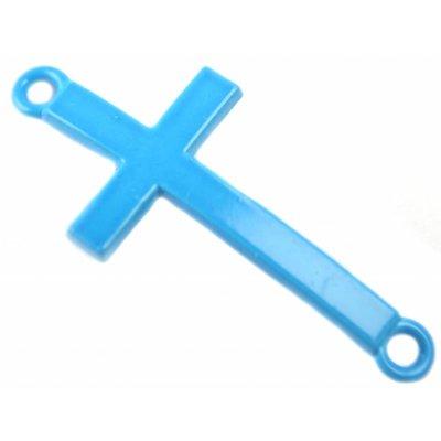 Blauw Tussenzetsel kruis blauw metaal 37x17mm