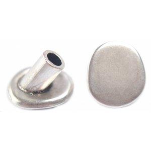 Zilver Eindkap button Ø4mm zilver DQ 16mm