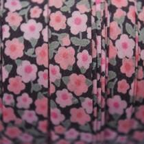 Zwart Lint zwart roze bloemetjes 10mm - 10cm