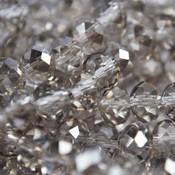Grijs Glaskraal facet rondel greige silver shine 6x4mm - 45 stuks