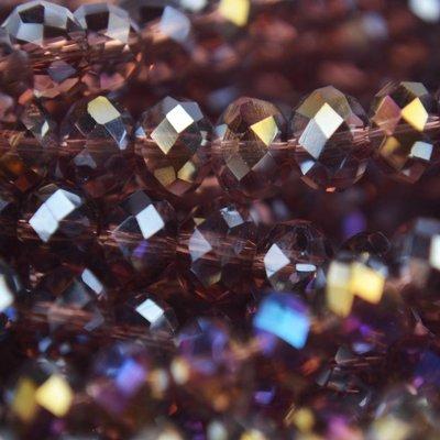 Paars Glaskraal facet rondel donker amethist AB 6x4mm - 45 stuks
