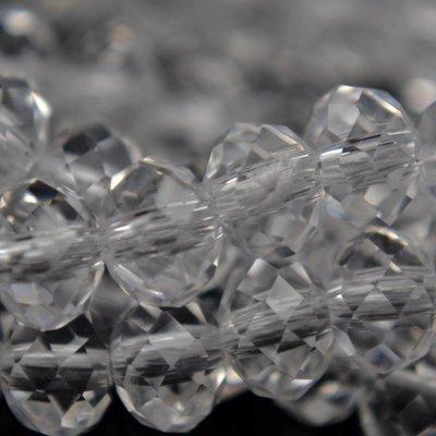 Wit Glaskraal facet rondel crystal 6x4mm - 45 stuks