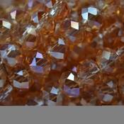 Bruin Glaskraal facet rondel topaas golden shine 6x4mm - 45 stuks