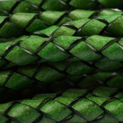 Groen Rondgevlochten Leer 8mm Groen