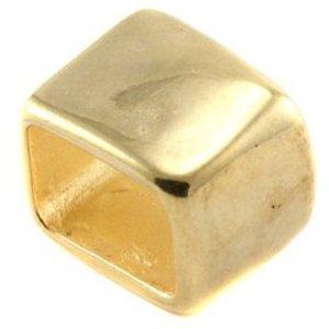 Goud Leerschuiver Rechthoek Ø10x6mm Goud DQ 14mm