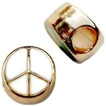 Wit Kraal peace Ø4mm goud wit 11mm