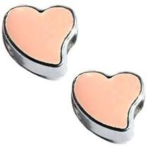 Zilver Kraal hart Ø4mm zilver peach 12mm