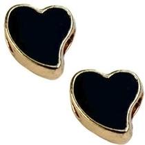 Zwart Kraal hart Ø4mm goud zwart 12mm