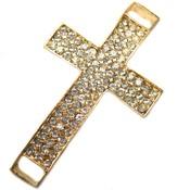 Goud Tussenzetsel kruis crystal goud 56x32mm