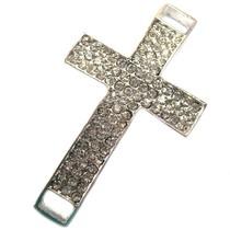 Zilver Tussenzetsel kruis crystal zilver 56x32mm