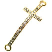 Goud Tussenzetsel crystal kruis goud 45x15mm