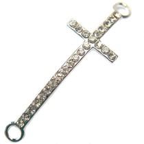 Zilver Tussenzetsel crystal kruis zilver 45x15mm