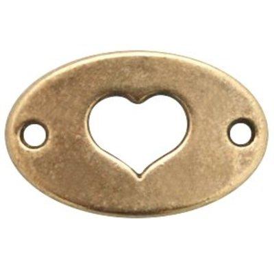 Antiek Goud Brons Tussenzetsel ovaal hart Brons DQ 20x13mm