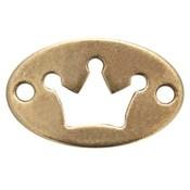 Antiek Goud Brons Tussenzetsel ovaal kroon Brons DQ 20x13mm