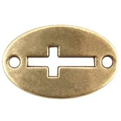 Antiek Goud Brons Tussenzetsel ovaal kruis Brons DQ 20x13mm