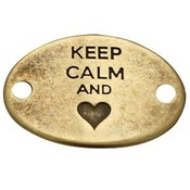 Antiek Goud Brons Tussenzetsel Keep Calm and hart Brons DQ 29x20mm
