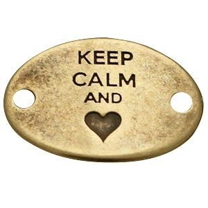 Antiek Goud Brons Tussenzetsel Keep Calm and hart Brons DQ 29x20mm