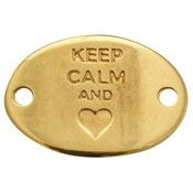 Goud Tussenzetsel Keep Calm and hart Goud DQ 29x20mm