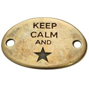 Antiek Goud Brons Tussenzetsel Keep Calm and ster Brons DQ 29x20mm