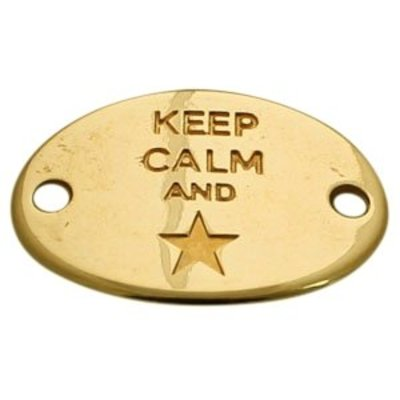 Goud Tussenzetsel Keep Calm and ster Goud DQ 29x20mm