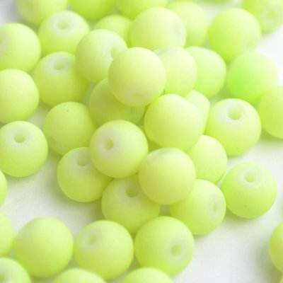 Groen Glaskraal mat fel groen 6mm - 50st
